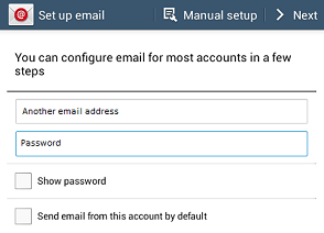 Set up email window - enter email and password - next button