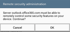 Remote security administration window - Ok button