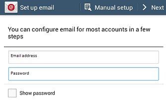 Set up email window - email address and password - Next button