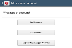 Add an email account window - Exchange button