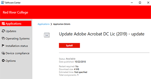 application details window