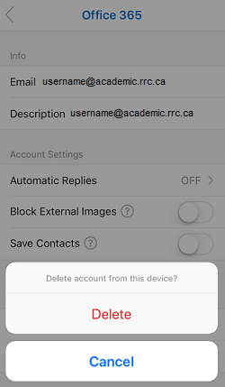 click delete to confirm you want to delete account from device
