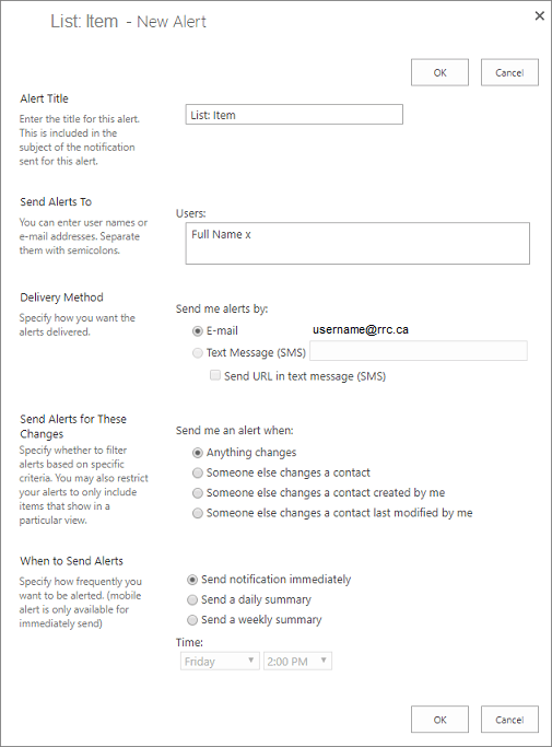 item alert options