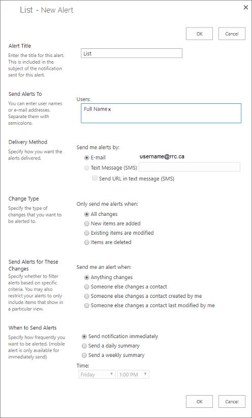 list alert options