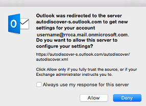 click allow to let outlook get your account settings