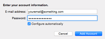 type your email address and password then click add account