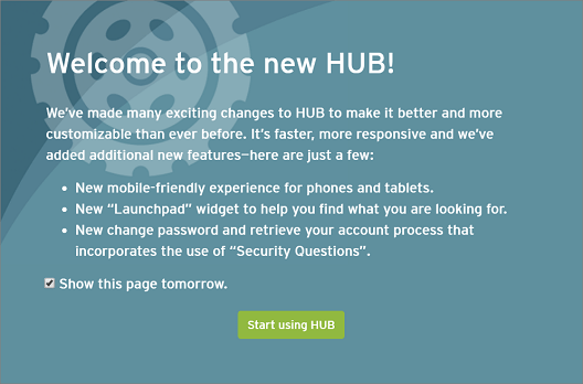 HUB splash screen