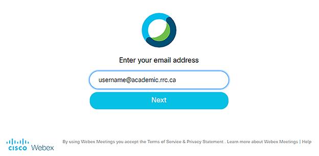 webex log on screen
