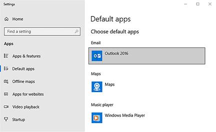 outlook app default