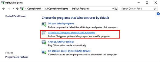 default programs window