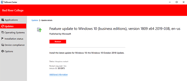 update restart button