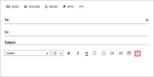 more text formatting options buttion