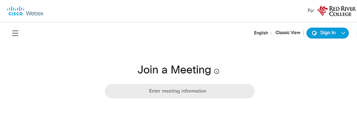 webex log on page and sign in button