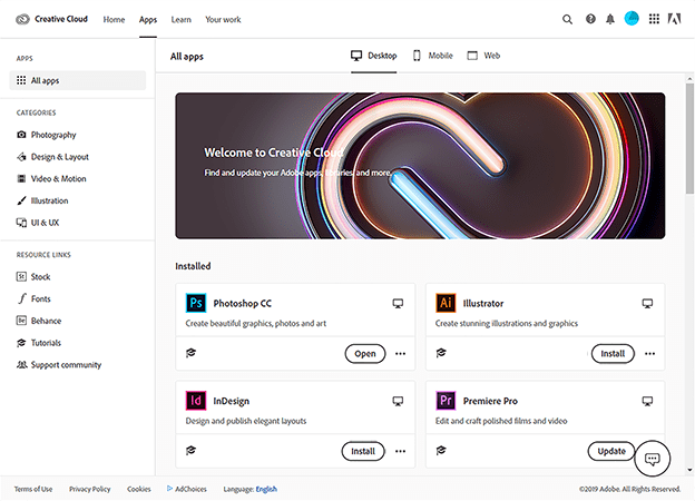adobe cc apps page