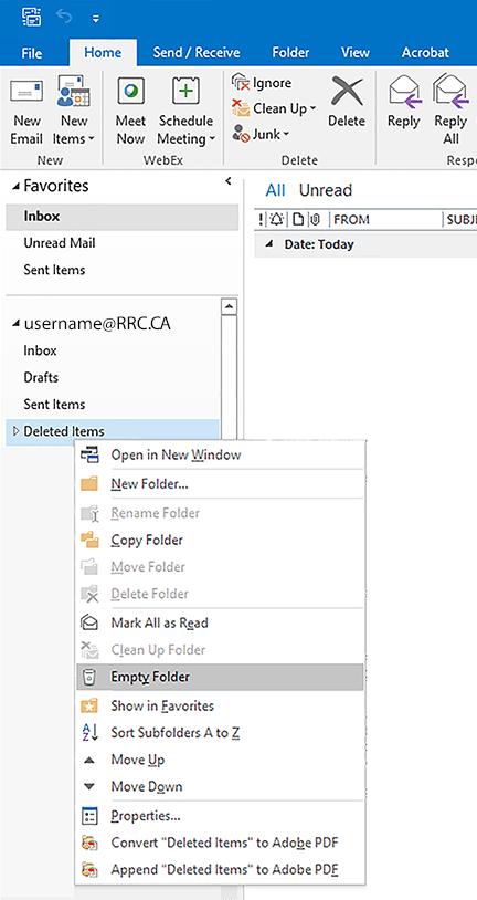 deleted items menu - empty folder option