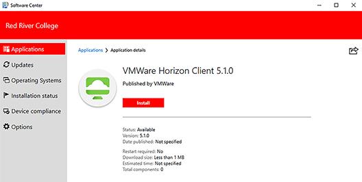 application details window – vmware install button