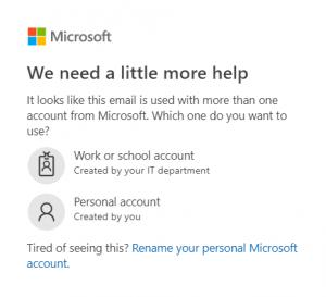 click work or school account