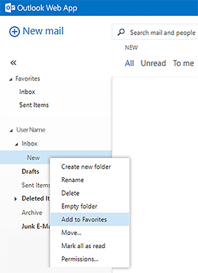 add to favourites drop-down option
