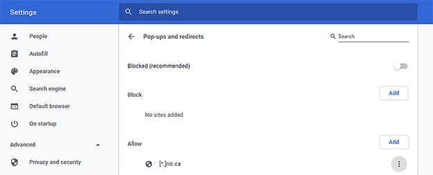Pop-ups and redirects menu – rrc.ca in allowed sites