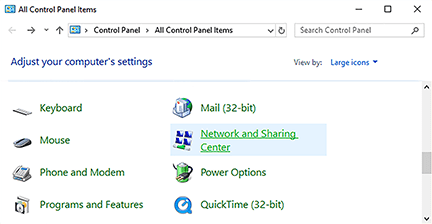 control panel screen – Network and Sharing Center option