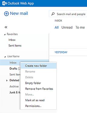 create new folder menu selection