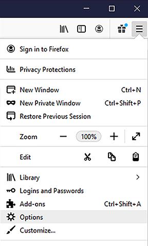 open menu – options button
