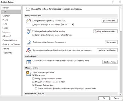 mail tab on outlook options menu
