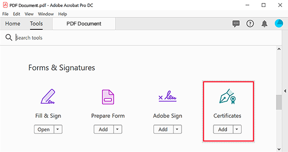 Certificates icon in the Forms & Signatures group