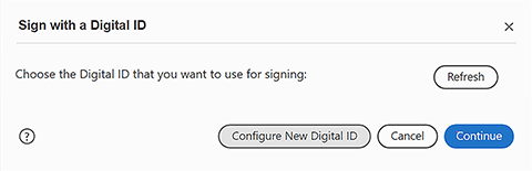 Configure new digital ID button