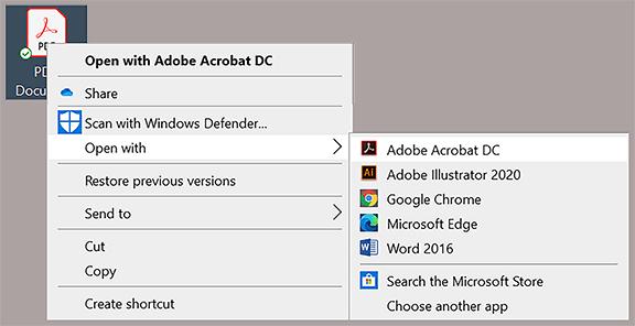 adobe acrobat dc menu option