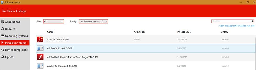 Installation status tab