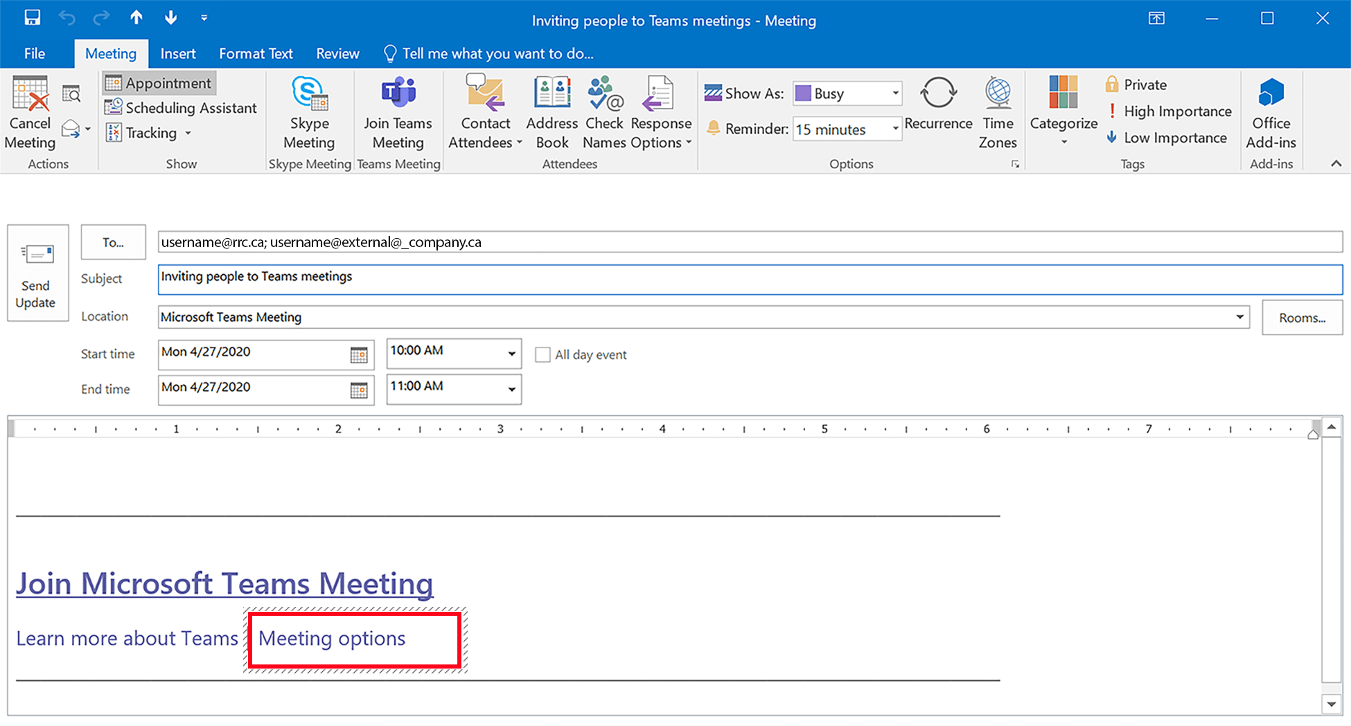 Teams Meeting options link