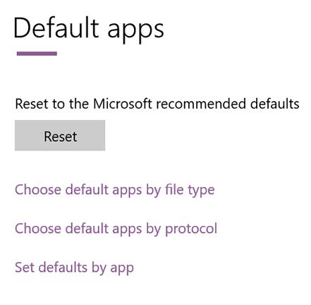 click set defaults by app