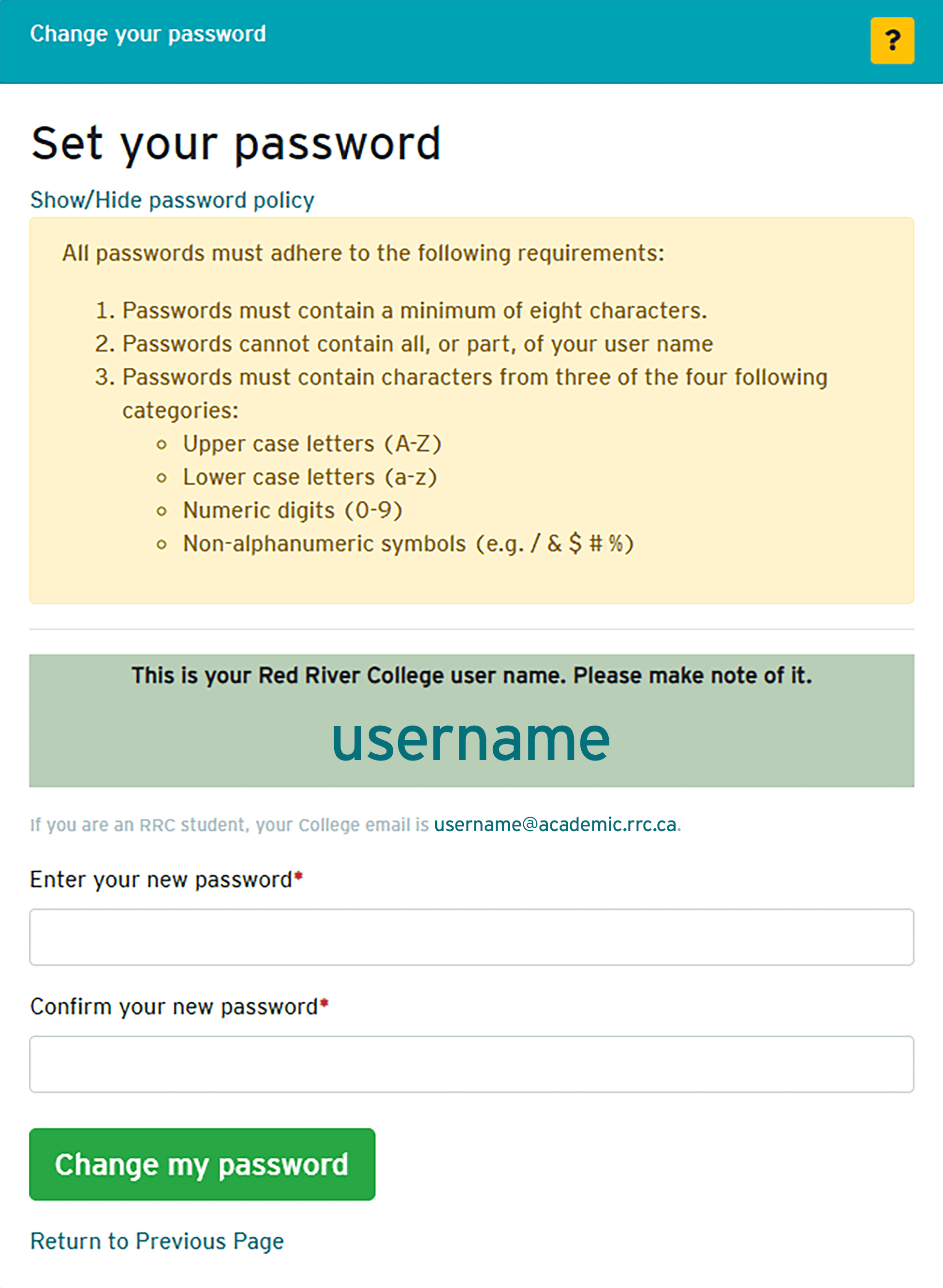change password policy & user name window