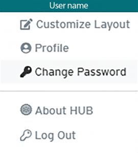 HUB user profile – change password