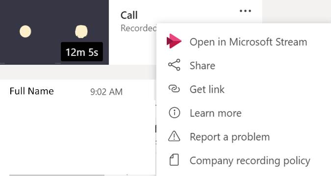 click open in microsoft stream