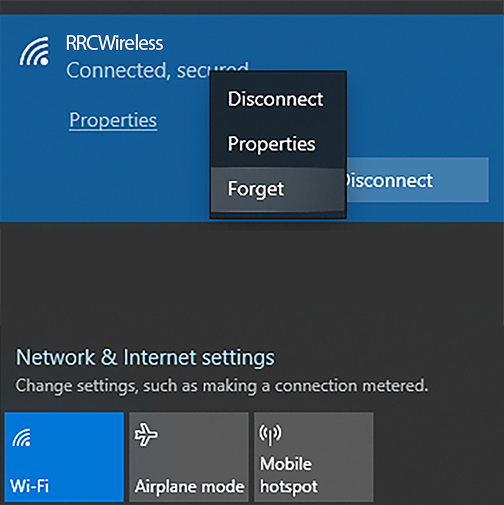 Forget network button Windows 10