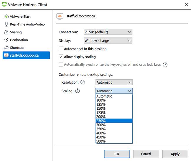 vmware scaling drop-down menu