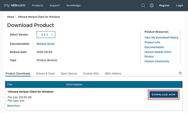 vmware download button