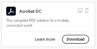 locate acrobat dc and then click download