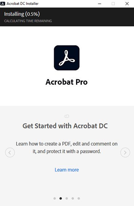 acrobat dc is installing
