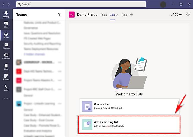 Add an existing list – MS Teams Lists tab