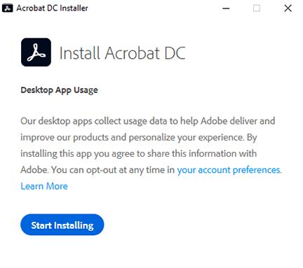 click start installing