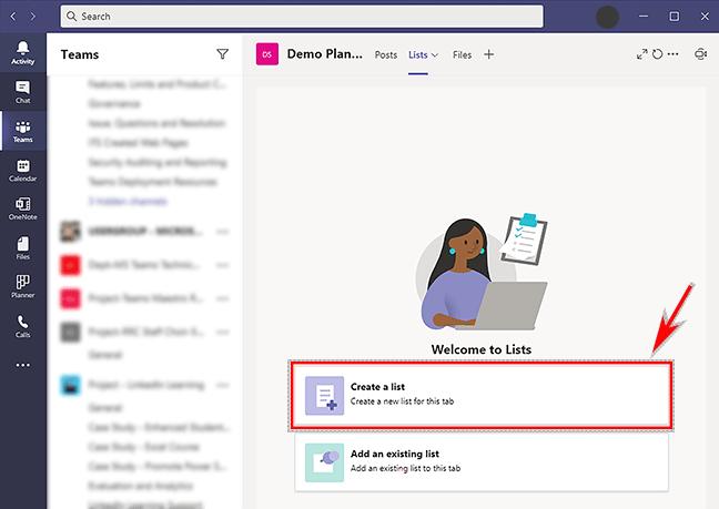 Create a list – MS Teams Lists tab