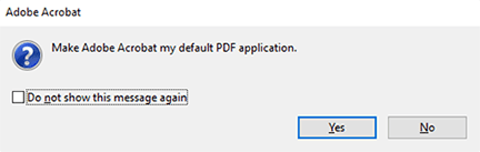 click yes to make adobe the default pdf application
