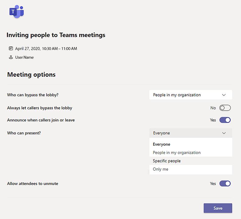 ms teams meeting options window