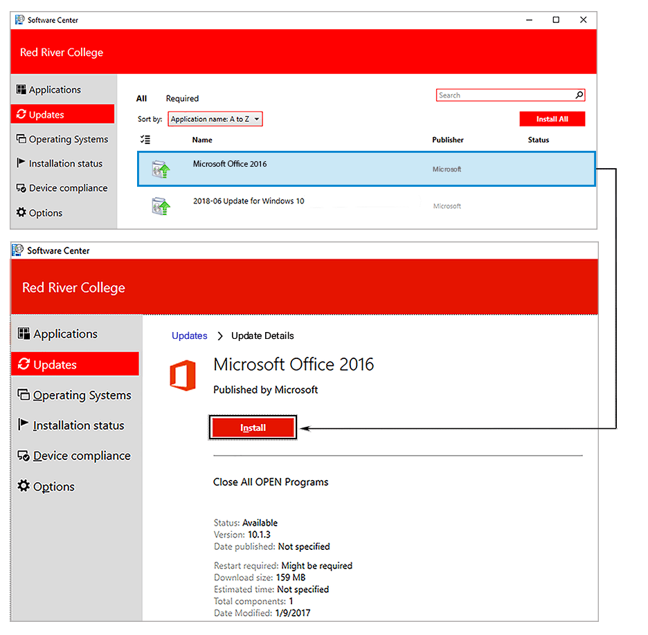 Software Center - Install individual update