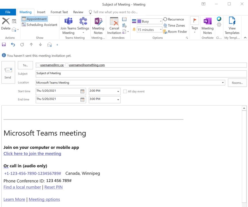 teams meeting information