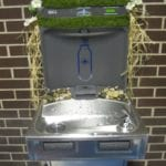 Water fountain and fill station decorated for Bottle Water Free Day.