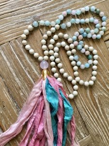 Mala necklace in blues and pinks